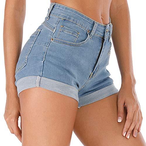 Cuihur Women's Summer High Waisted Denim Shorts Folded Hem Casual Short Jeans Lightblue XL