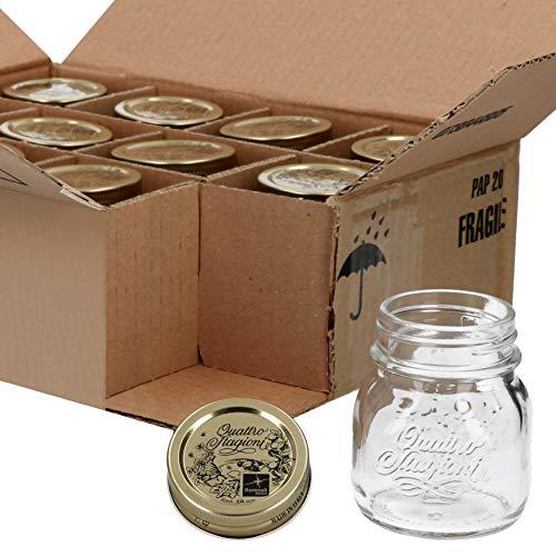 Bormioli Lot de 12 bocaux Quattro Stagioni - Capacité : 150 ml - Diamètre : 6,8 cm - Hauteur totale : 8,8 cm - Parfait pour les Antipastes & Co