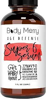 Body Merry Anti-Aging Vitamin C Serum with Hyaluronic Acid for face, w Vit C 22%, Retinol 2.5%, CoQ10, Asta...