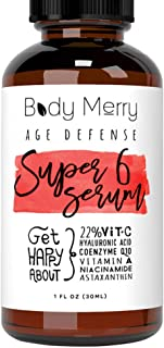 Body Merry Anti-Aging Vitamin C Serum with Hyaluronic Acid for face, w Vit C 22%, Retinol 2.5%, CoQ10, Astaxanthin & Niacinamide to Fight Wrinkles, Fine Lines, Acne & Dark Spots