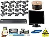 Samsung 16 Canales Kit Completo de CCTV 16x Cámaras 2TB Bullet Security Screen