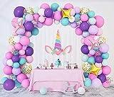 Unicornio Cumpleaños Decoración Globos 138 Piezas Fiesta Látex Globos Guirnalda Rosa Púrpura Azul Niña Mujer Niños Confeti Estrella Globos Arco