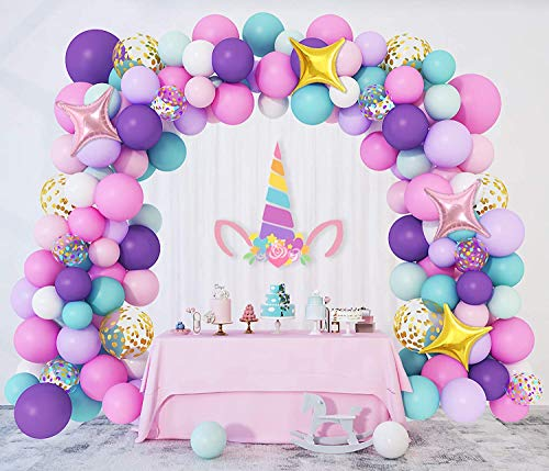 138 Pezzi Unicorno Palloncini Ghirlanda Compleanno Viola Rosa Blu Lattice Palloncino Arco Ragazza Ragazzi Festa Battesimo Oro Confetti Stella