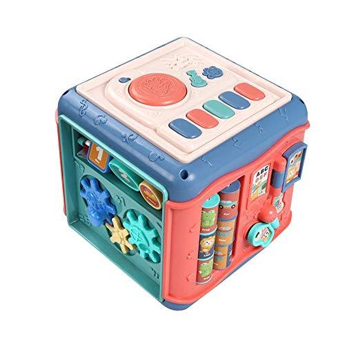 DIYARTS 6 En 1 Juguetes Multifunción para Bebés Cubo de Juego de Actividades Caja de Seis Lados Hexaedro de Educación Temprana para Bebés Juguetes Educativos para Niños Niñas (B)