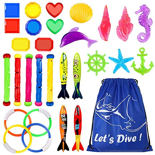 Underwater Swimming Diving Pool Toy Rings 4 pcs, Diving Sticks 5 pcs and Torpedo Bandits 4 pcs Sets Under Water Games Training Gift for Boys Girls