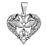 schmuxxi Wolf Anhänger 925 Silber Kettenanhänger Herz Keltisch Silberanhänger für Damen