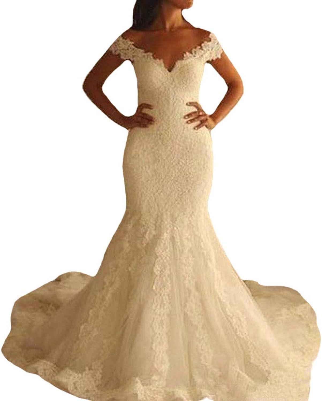 P.L.X Ladies Appliqued Lace Sheer Back Mermaid Vintage Wedding Dresses Rustic Garden Bridal Gowns