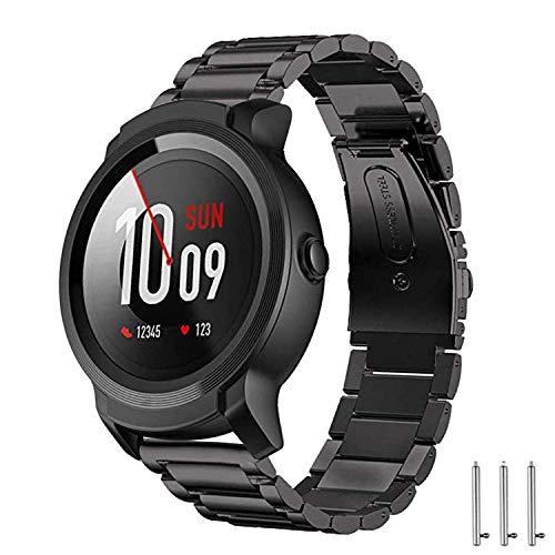 Aimtel compatible para Ticwatch Pro/Ticwatch Pro 3/Ticwatch S2/E2 Correa de Acero Inoxidable, 22 mm Correa de Metal de Repuesto Accesorios para Tic Watch Pro/Tic Watch Pro 3 (Negro)