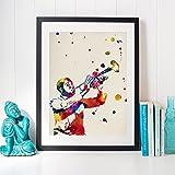 Nacnic Lámina para enmarcar Louis Armstrong Laminas Decorativas para Pared. Laminas Estilo Vintage. Laminas para enmarcar con imágenes de músicos. Regalo Creativo. Papel 250 Gramos