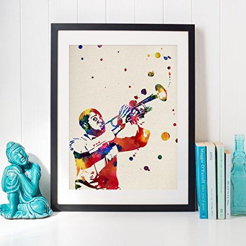 Nacnic Louis Armstrong Afdrukken Maak decoratieve afbeeldingen voor muren. Vintage stijlbladen. Laminae ontwerpen met afbeeldingen van muzikanten. Creatief cadeau. 250 gram papier van hoge kwaliteit