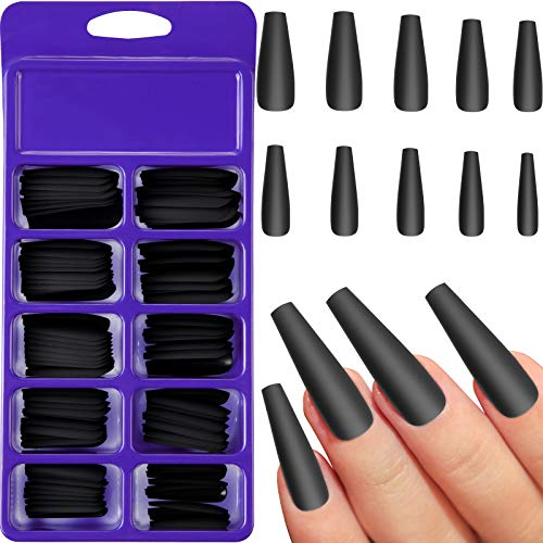 100 Pieces Matte Extra Long Ballerina Press on Nails Coffin False Nails Solid Color Full Cover Fake Nails Matte Coffin False Nails with Box for Women Girls Nail Decorations (Black)