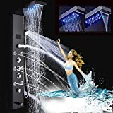 FUZ Contemporary Shower Panel Tower System Stainless Steel 6-Function Faucet LED Rainfall Waterfall Shower Head + Handheld Sprayer + Rain Massage Body Jets + Tub Spout, Oil Rubbed Bronze……