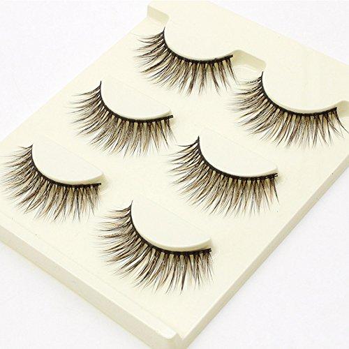 Bluelover 3Pairs Faux Cils 3D 13 Cils Bande Sillonnent Ailes Faux Cils Noir Brun Maquillage Oeil Outil