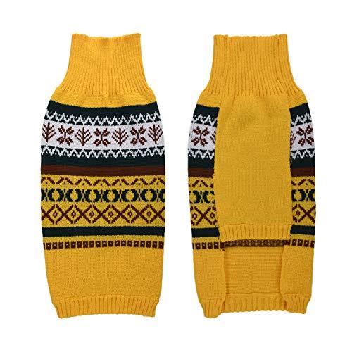 LucyGod Kerst Hond Jumpers Truien Outfits Kostuums Hoodies Winter Kerstmis Huisdier Kleding Shirts Jassen Jassen, L, Geel