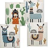Mixed Llama Set of 4 Cloths Swedish Dishcloths (One of Each Design) | ECO Friendly Sponge Cloth | Paper Towel Replacement