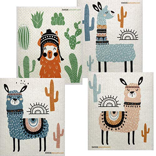 SWEDEdishcloths Mixed Llamas Set of 4 Swedish Dishcloths (one of Each Design) | ECO Friendly Reusable Absorbent Sponge Cloth