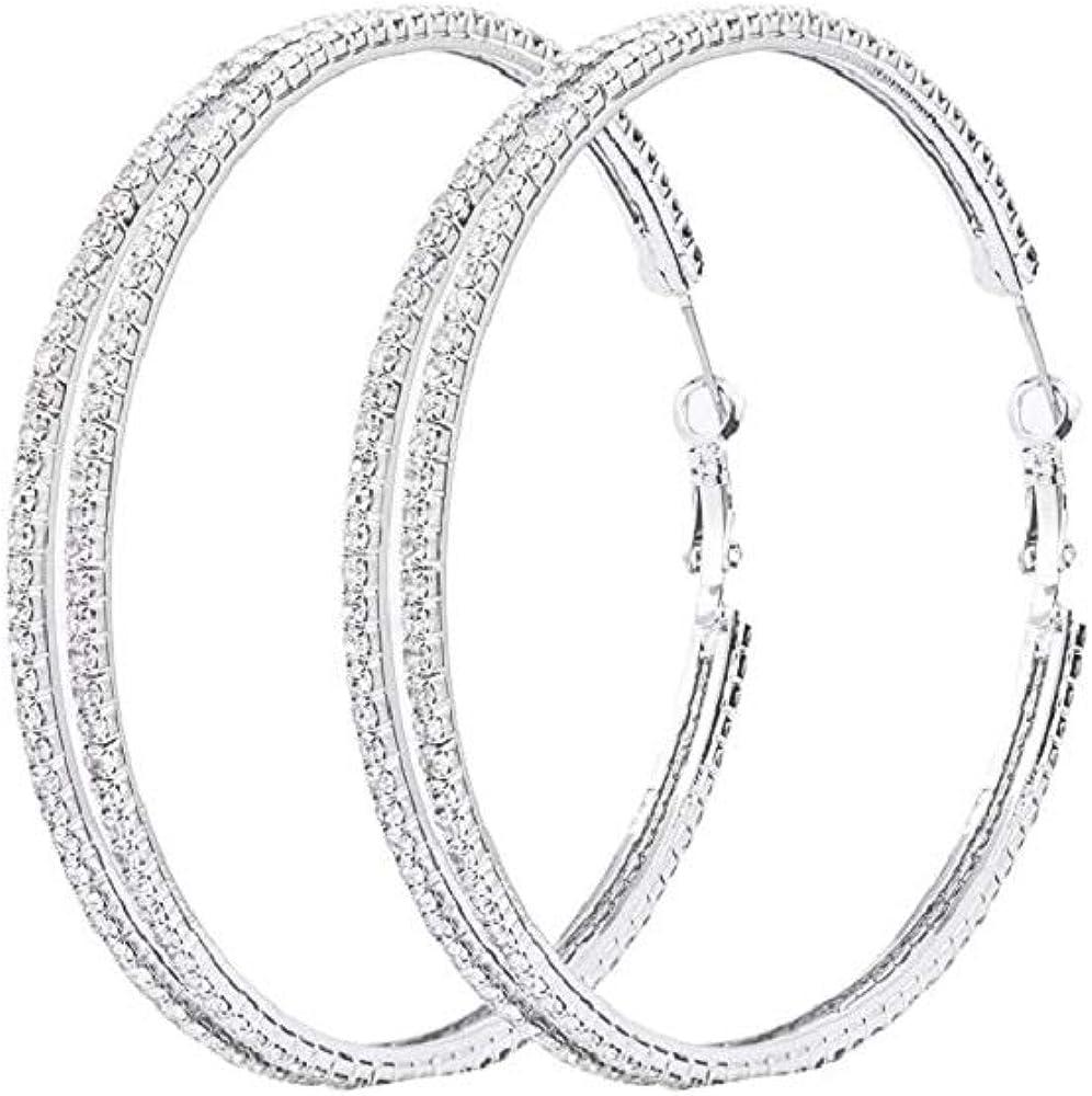 Extra Large Rhinestone Hoop Minimalism Earrings Double Oversized Giant Big Huge Crystal Lightweight Hoop Earrings for Women Girls