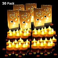 Luci a lume di candela romantiche-- Le luci di candela di colore bianco caldo sono la grande decorazione per le luci di candela di nozze romantiche, compleanno, festa, giardino, ecc luci esterne al coperto Vieni con borse a forma di candela a forma d...