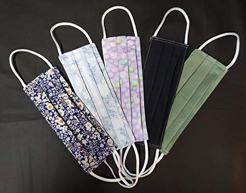 Mundschutz-Maske Baumwolle -Mischware Verschiedene Muster, Handgemachte Behelfsmasken, Waschbar bei 60° 5stück