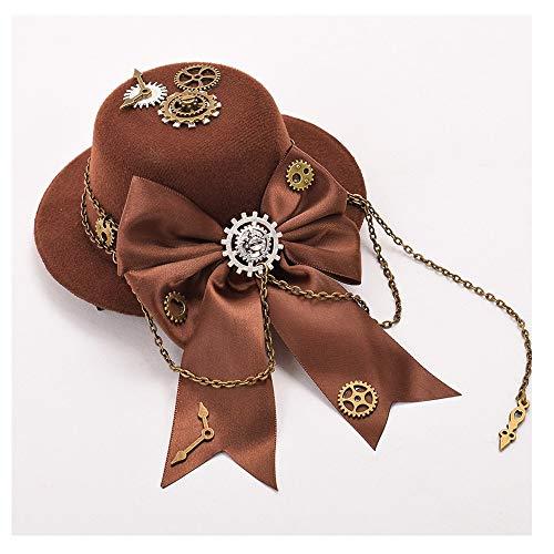 LUZIWEN 2019 Mini Chapeau Haut de Forme Fille Lolita Steampunk Gear Bow Brun Mini Chapeau Haut de Forme en épingle à Cheveux Coiffe rétro (Couleur : Café, Taille : 28-30cm)