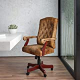 Flash Furniture Bomber Brown Classic Executive Swivel Office Chair with Arms