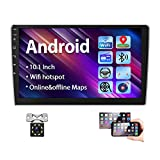 Podofo 10.1 Inch Android Car Stereo Double Din GPS Car Radio 2.5D HD Tempered Glass Mirror Multimedia MP5 Player Support Bluetooth WiFi FM Radio Dual USB Mirror Link with Backup Camera