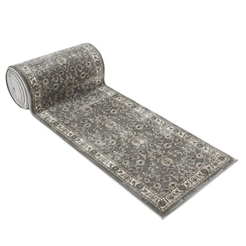 25' Stair Runner Rugs - Luxury Bergama Collection Stair Carpet Nearly 1 Million Points Per Sq.Meter (Grey)