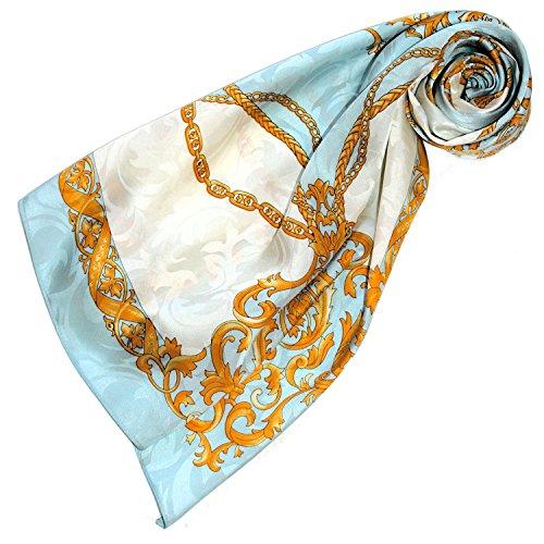Lorenzo Cana Luxus Seidentuch Damast Damentuch 100% Seide gewebt bedruckt 88 cm x 88 cm opulentes Barock Muster Tuch Halstuch 89135