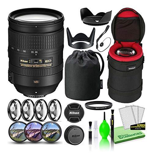 Nikon AF-S NIKKOR 28-300mm f/3.5-5.6G ED VR Lens (2191) USA Model Bundle Package with Padded Lens Case + Macro Filter Kit + UV, CPL, FL Lens Filters + Tulip Hood + Lens Cap Keeper + Lens Cleaning Kit