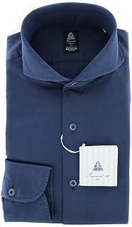 Finamore Napoli ブルー 無地 ボタンダウン カッタウェイカラー コットン スリムフィット ドレスシャツ 14.5