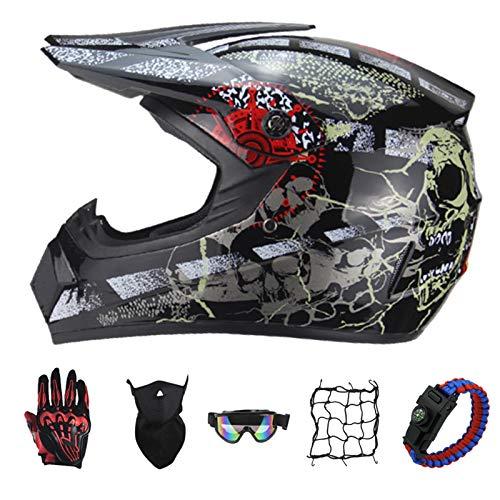 PNNNF Casco de motocross para nios y adolescentes, para bicicleta, mini motocross, cross, ATV Go  Kart  Gris  M (55  56)