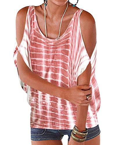 YOINS Blusa para Mujer con Hombros Descubiertos Casual Camisa de Manga Larga Cuello Redondo Tops de Verano con Estampado de Plumas