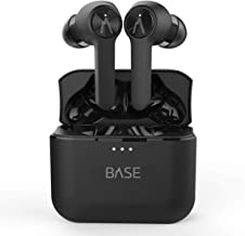 Base LITE True Wireless Earbuds Headphones: 32+ Hours, Bluetooth 5, Dual-Mic Noise Canceling, Charging Case. Deep Bass Sound Headset, Small Earphones for Android Samsung & iPhone (No Volume Control)