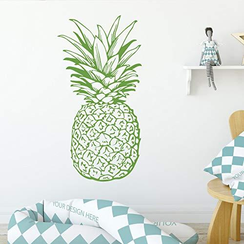 YuanMinglu Ananas Muster Obst Design Wandaufkleber Kinderzimmer Hintergrund Blume wasserdicht Kunst Dekoration Tapete blau XL 58X 112