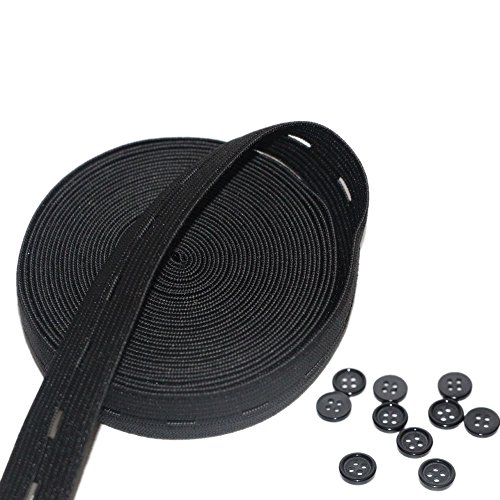 RERIVER Button Hole Elastic Spool 3/4-Inch Wide Knit Stretch Band and 10pcs Resin Buttons,Black