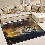 #Teppich #Wolf #Wohnzimmer #Schlafzimmer  63x48 Inch (ca. 160x122 cm)  oder 80x58  Inch   (ca.  203x147  cm)
