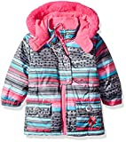 Wippette Baby Girls SKI Jacket, Striped Charcoal, 18M