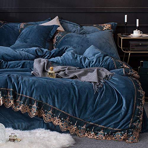 Ensemble de housse de couette en velours d'hiver, ensemble de literie en flanelle de velours épais en hiver, ensemble de literie, linge de lit en molleton pour double super king gris 200 * 230 cm (4