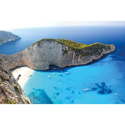 GREAT ART XXL Poster – Zakynthos Beach – Wandbild Dekoration Griechenland Ionische Inseln Navagio Bucht Greece Strand mit Schiffswrack Wandposter Fotoposter Wanddeko Bild (140 x 100 cm)