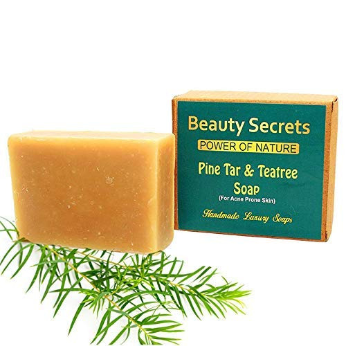 Beauty Secrets Cold Pressed Handmade Pine Tar & Teatree Luxury Soap enriched with Pungam & Rosemary Oil for Treating Oily Skin & Acne Control (100% Natural,Vegan & Chemical Free)-125 Gms