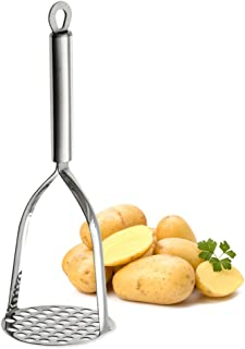 Tafond Stainless Steel Potato Masher Heavy Duty Ricer with Good Grips Sturdy Durable Efficient Convenient for Smooth Making Mashed Potatoes Guacamole Egg Salad Banana Bread Vegetables and Fruits