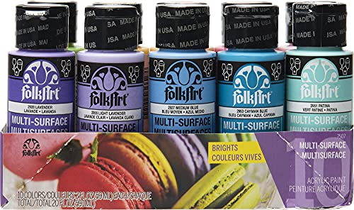 FolkArt Color, 10 Bottle Multi-Surface Acrylic Paint Set, 2oz, Brights