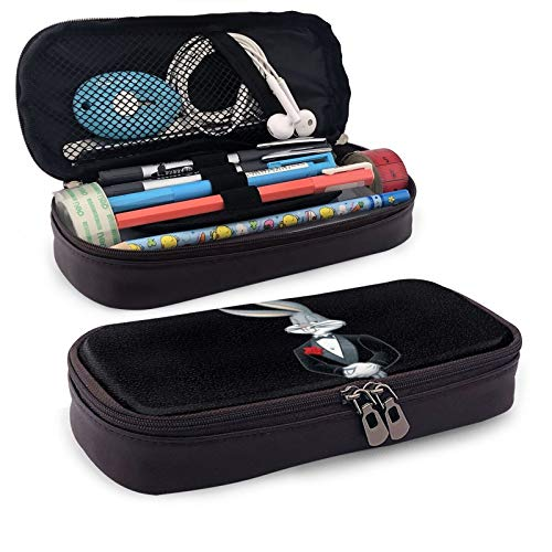 Bugs Bunny Leather Pen Case Holder Cosmetic Double Zipper Bag for Adults Girls Boys School Office