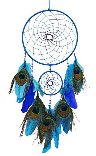 Susvapnaah Pavo real plumas colgando de la pared ventana decoración azul atrapasueños