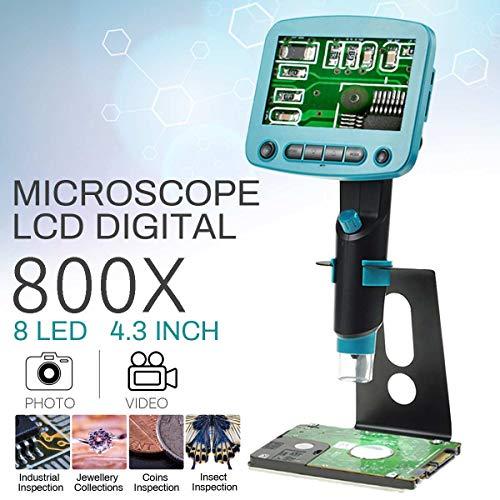 SISHUINIANHUA 800x 4.3Inch LCD Display Löt-Mikroskop-Vergrößerungs bewegliche Digital Hohe Helligkeit 8 LEDs Electron Löten Mikroskop US/EU,EU