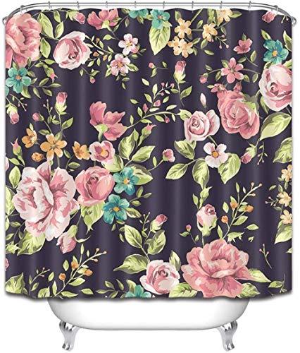 Douchegordijn Bloem Decoratie Polyester Stof Waterdicht en Meeldauw 3D Hd afdrukken Home Decoratie 180x 200cm 12 Haken