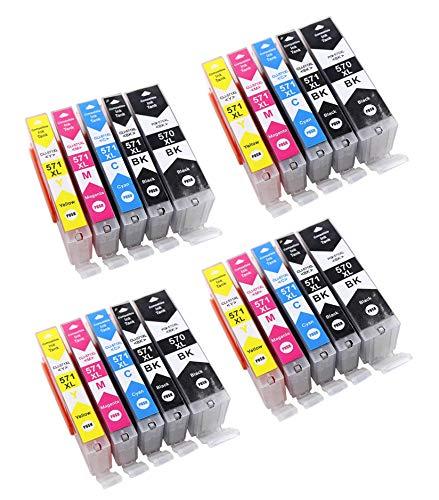 Bergsan 20 Druckerpatronen kompatibel mit Canon PGI-570 CLI-571 XL für Canon Pixma MG5700 MG5750 MG5751 MG5752 MG5753 MG6800 MG6850 MG6851 MG6852 TS5000 TS5050 TS5051 TS5053 TS5055 TS6050 TS6051