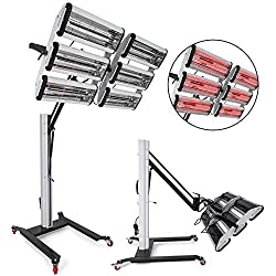 Bestauto Paint Curing Lamp 6000 Watt Baking Infrared Auto Body Repair Lamp 110V Short Wave Infrared Heater 6000W Heating Light Spray Booth With Stand Structure