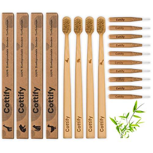 4x Bambus Zahnbürsten und 10x Bambus Interdentalbürsten Holzzahnbürste Bambuszahnbürste mit Naturborsten Nachhaltige Vegan Natürlich Packung Funktionsdesign für gesunde Zähne, 4 Tierikonen