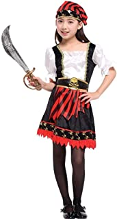 Halloween Kids Dressing Up Costumes, Girls' Masquerade Performances, Role-Playing Pirate Skirts (Color : Black, Size : L)
